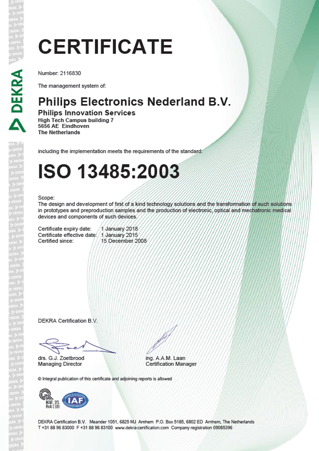 ISO 13485 2003 certificate, Philips Innovation Services, December 15, 2008
