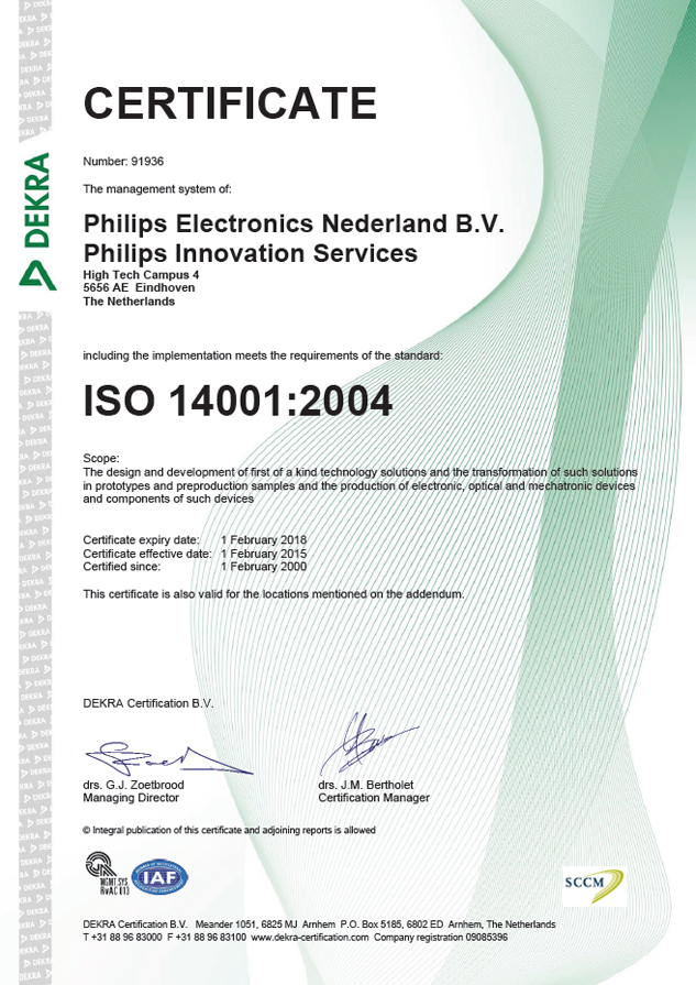 ISO 14001 2004 certificate, Philips Innovation Services, February 1, 2000