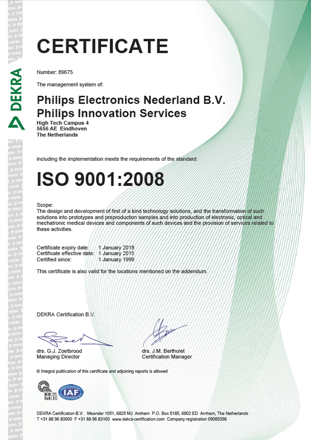 ISO 9001 2008 certificate Philips Innovation Services January 1 1999