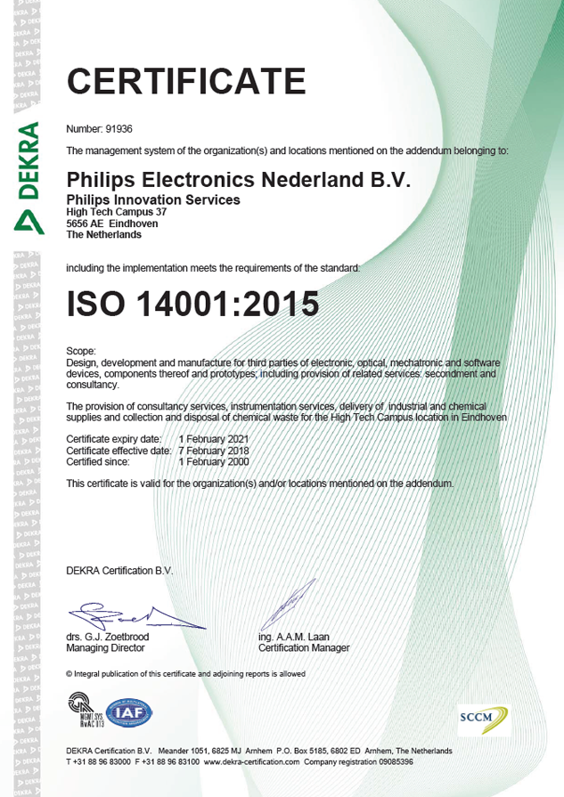 ISO 14001:2015 certificate   Philips Innovation Services
