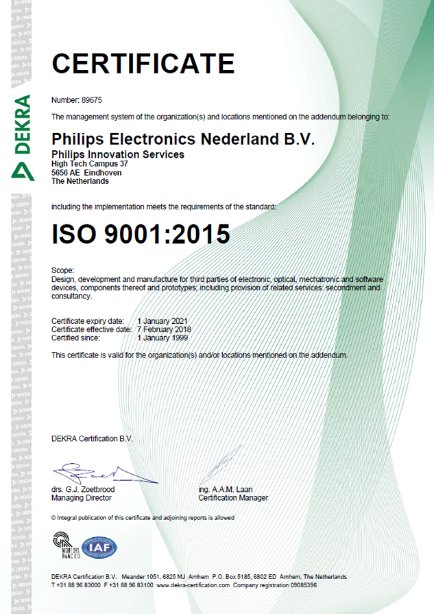 ISO-9001-2015-certificate-2018-2021, Philips Innovation Services