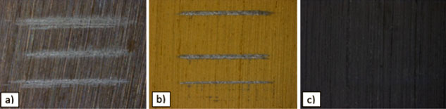 Tribology - Tested surfaces: a) uncoated, b) PVD coating 1 and c) PVD coating 2