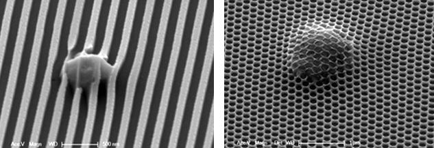 Figure 1: Examples of particle contamination in nano-structure manufacturing. (Source: Marc Verschuuren et al., SCIL Nanoimprint Solutions)