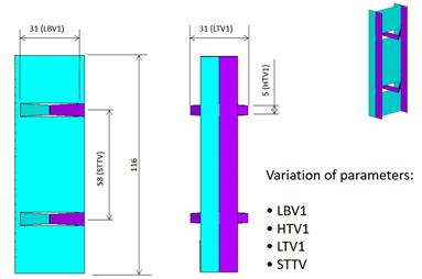 Figure 4 - varied cross flexure dimensional parameters